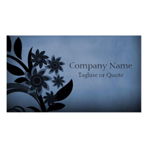 Dark Blooms Business Card, Midnight Blue