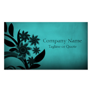 Dark Blooms Business Card Turquoise