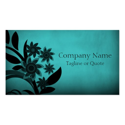 Dark Blooms Business Card, Turquoise