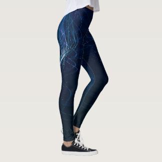Dark Blue Abstract Lines Leggings