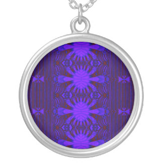 dark blue abstract round pendant necklace