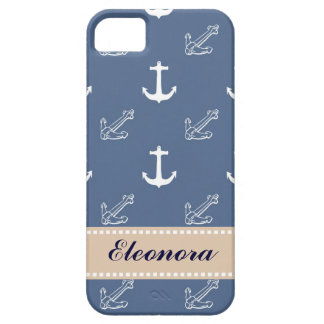 Dark Blue Anchors iPhone 5 Case