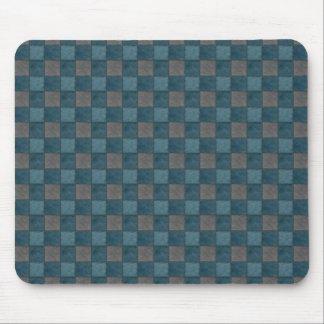 Dark Blue and Black Check Mousepad