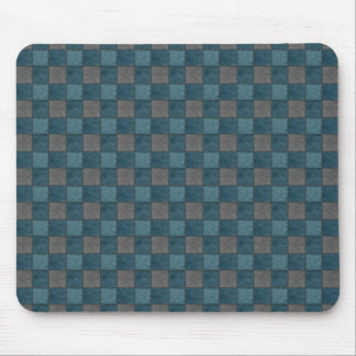 Dark Blue and Black Check Mousepad