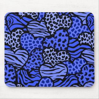 Dark Blue and black girly animal print hearts Mouse Pad