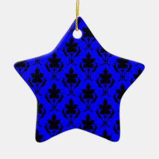 Dark Blue And Black Ornate Wallpaper Pattern Christmas Ornament