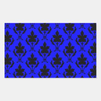 Dark Blue And Black Ornate Wallpaper Pattern Rectangular Sticker