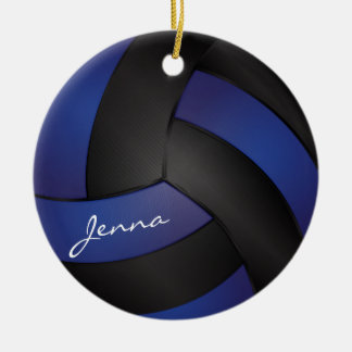 Dark Blue and Black Personalize Volleyball Christmas Ornament