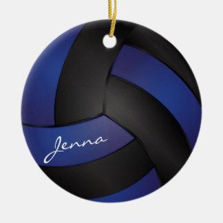 Dark Blue and Black Personalize Volleyball Round Ceramic Decoration