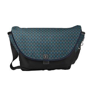 Dark Blue and Black Plaid Check Messenger Bag