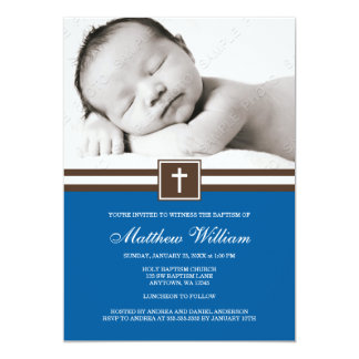 Dark Blue and Brown Cross Boy Photo Baptism 13 Cm X 18 Cm Invitation Card