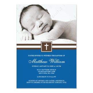 Dark Blue and Brown Cross Boy Photo Baptism Card