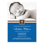 Dark Blue and Brown Cross Boy Photo Baptism Personalised Invites