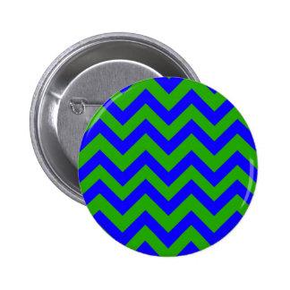 Dark Blue And Dark Green Chevrons 6 Cm Round Badge