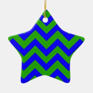 Dark Blue And Dark Green Chevrons Ceramic Star Decoration