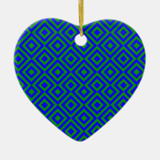 Dark Blue And Dark Green Square 001 Pattern Ceramic Heart Decoration