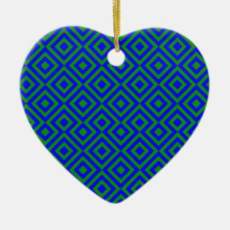 Dark Blue And Dark Green Square 001 Pattern Christmas Ornament