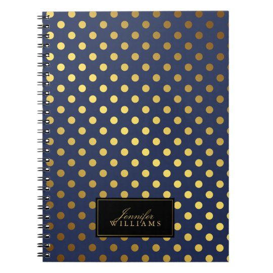 Dark Blue and Faux Gold Foil Polka Dots Spiral Notebook