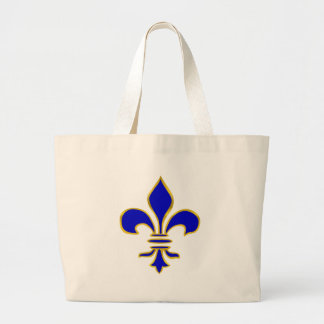 Dark blue  and gold fleur de lis tote bag