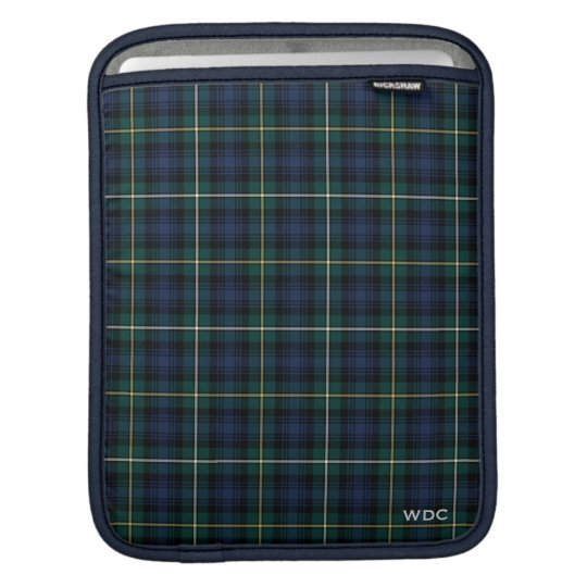 Dark Blue and Green Clan Campbell Tartan Monogram