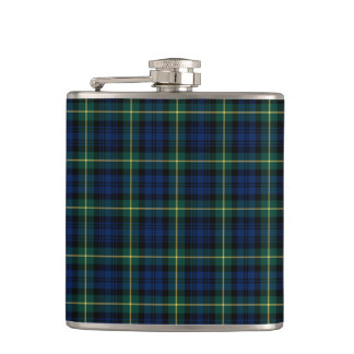 Dark Blue and Green Gordon Clan Scottish Plaid Hip Flask