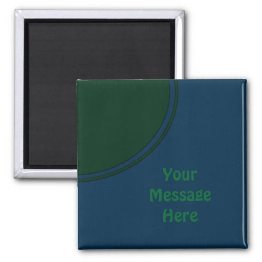 Dark blue and green modern circle refrigerator magnet