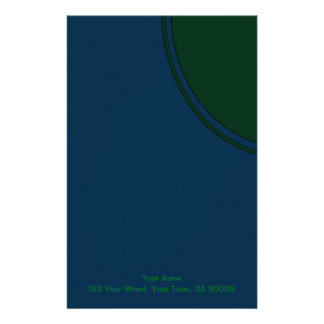 Dark blue and green modern circle personalized stationery