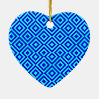 Dark Blue And Light Blue Square 001 Pattern Ceramic Heart Decoration