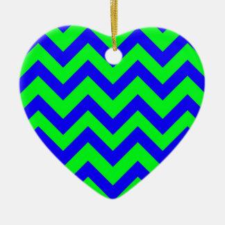 Dark Blue And Light Green Chevrons Ceramic Heart Decoration