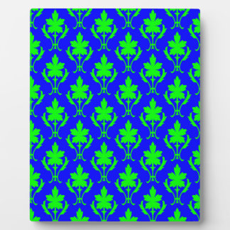 Dark Blue And Light Green Ornate Wallpaper Pattern Plaque