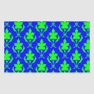 Dark Blue And Light Green Ornate Wallpaper Pattern Rectangular Sticker