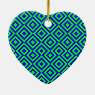 Dark Blue And Light Green Square 001 Pattern Ceramic Heart Decoration