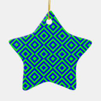 Dark Blue And Light Green Square 001 Pattern Christmas Ornament