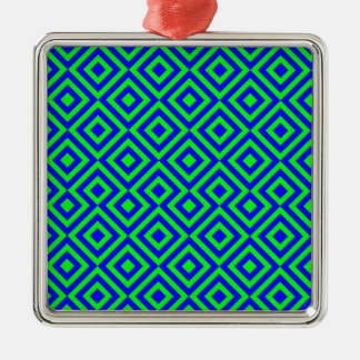 Dark Blue And Light Green Square 001 Pattern Silver-Colored Square Decoration