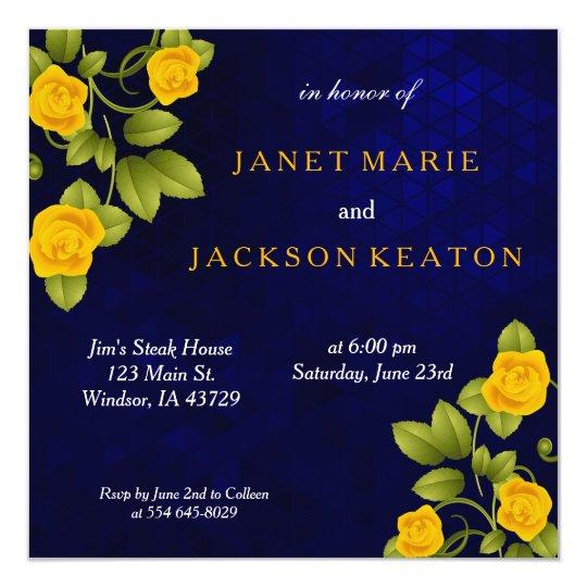 Dark Blue and Marigold Yellow Rose Flower Wedding
