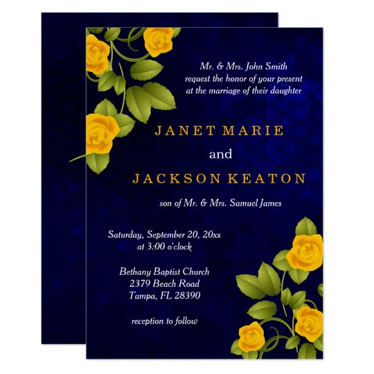 Dark Blue and Marigold Yellow Rose Wedding Card
