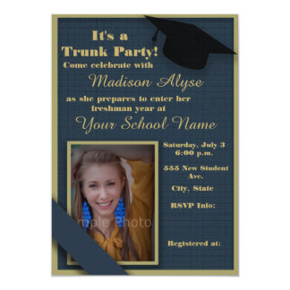 Dark Blue and Moss Green Trunk College Party Photo 13 Cm X 18 Cm Invitation Card
