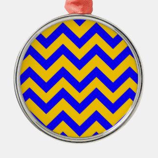 Dark Blue And Orange Chevrons Christmas Ornament