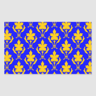 Dark Blue And Orange Ornate Wallpaper Pattern Rectangular Sticker