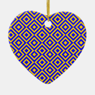 Dark Blue And Orange Square 001 Pattern Ceramic Heart Decoration