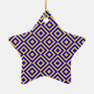 Dark Blue And Orange Square 001 Pattern Christmas Ornament