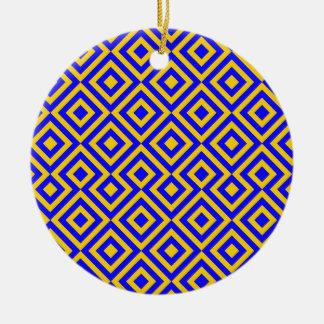 Dark Blue And Orange Square 001 Pattern Round Ceramic Decoration