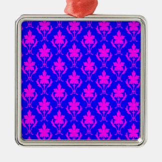 Dark Blue And Pink Ornate Wallpaper Pattern Christmas Ornament