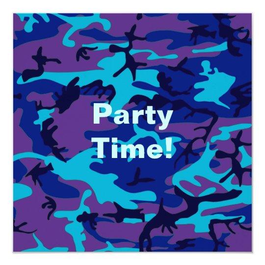 Dark Blue and Purple Camouflage Invitation