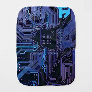 Dark Blue and Purple Cool Computer Circuit Board Burp Cloth