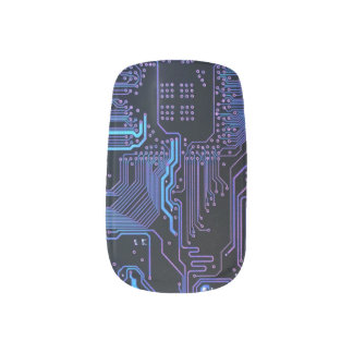 Dark Blue and Purple Cool Computer Circuit Board Minx Nail Art