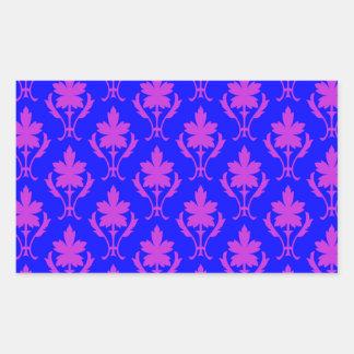 Dark Blue And Purple Ornate Wallpaper Pattern Rectangular Sticker