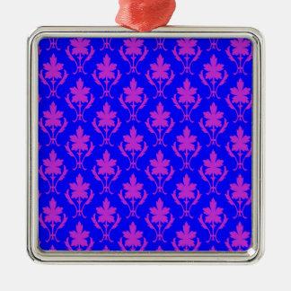 Dark Blue And Purple Ornate Wallpaper Pattern Silver-Colored Square Decoration