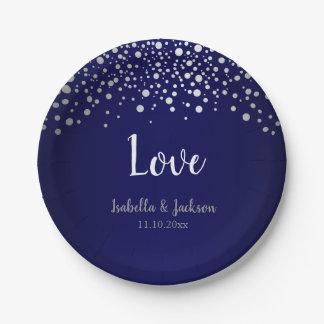 Dark Blue and Silver Confetti Dots Paper Plate