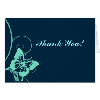 Dark Blue and Teal Butterfly Thank You Cards
